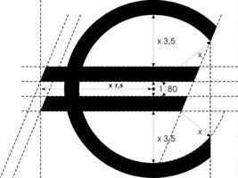 Measurement of the Euro symbol, after a blueprint by Arthur Eisenmenger from Eislingen/Stuttgart Region